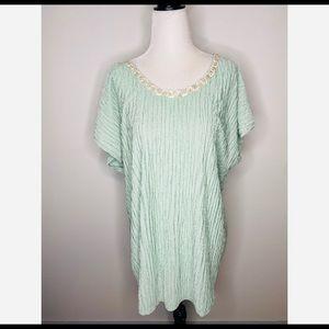 Vintage Mint Green Long Blouse Sleepwear